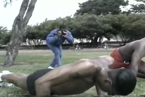 excited darksome males Assfucking After Workout At The Park