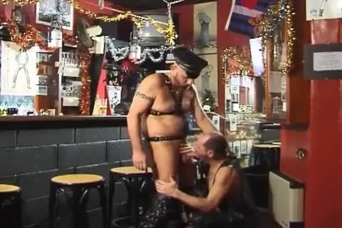 those Two large boyz Wearing Leather have a joy pretty Sex At The Bar