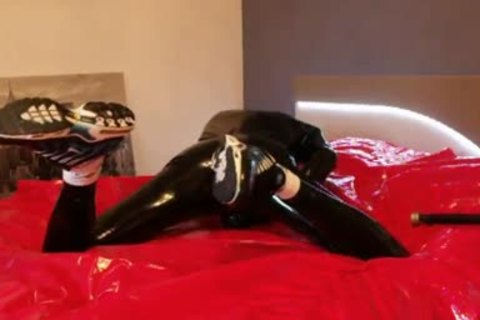 young stroking In darksome Latex nasty Very Very large weenie