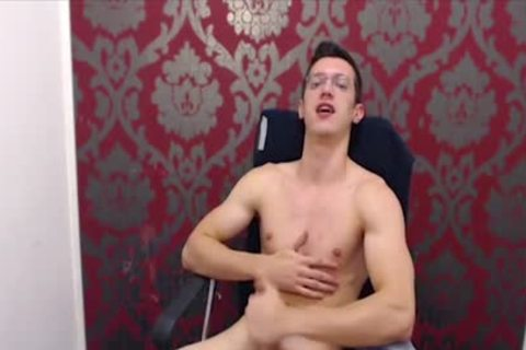 twink With Glasses Wanks His large Uncut penis