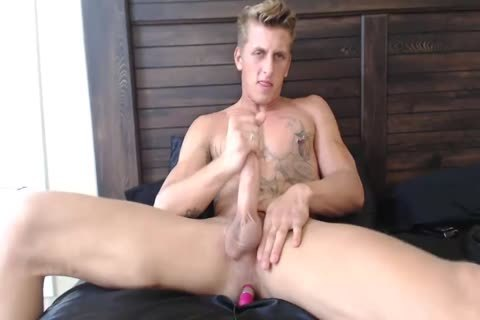 lewd blonde Monster Enjoys anal vibrator whilst Jerks Off