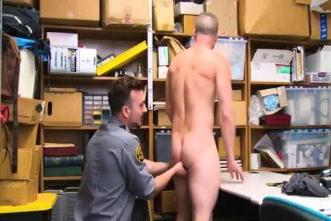 Shoplifting man Takes penis Up His butthole And Down His throat