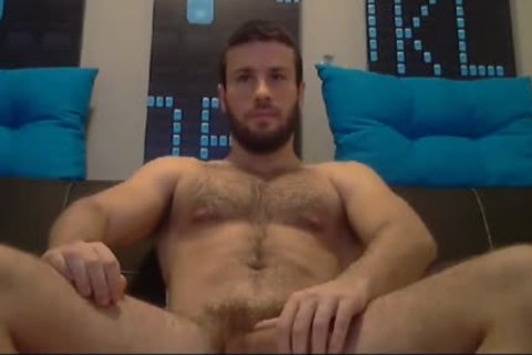 brawny Bearded chap Jacking Is giant Muscle cock Tell this dude Ready To Explode his cum