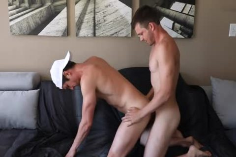 Husbands gangbang It Out On The bed