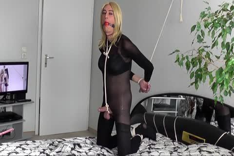 Transgender serf tied Up And Gagged, Crossdresser thraldom
