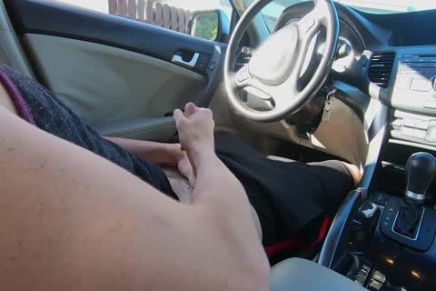 lad Watches Other lad stroke his dong In The Car whilst In Public