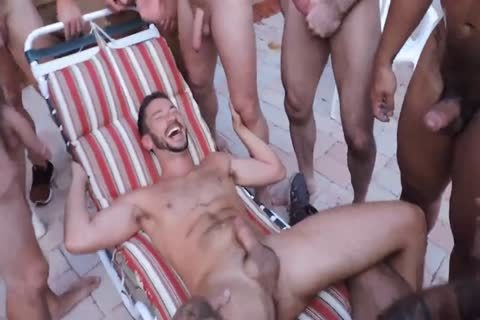 Poolside bare orgy