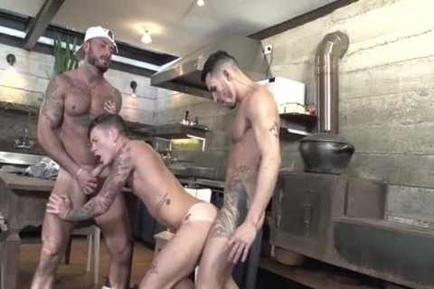 three-some Latinos pounding In The Kitchen
