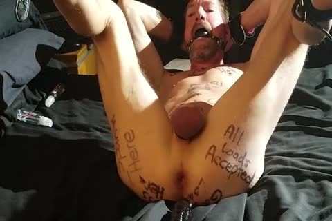 Humliliated Faggot bondman covered In Degrading Body Writing