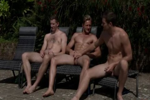 Three man Jerking-off By The Swimmingpool