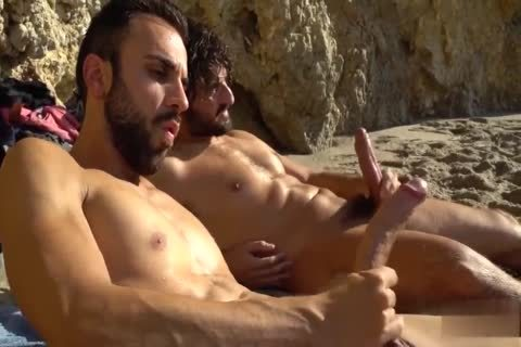 gigantic cocks wanking AT THE BEACH