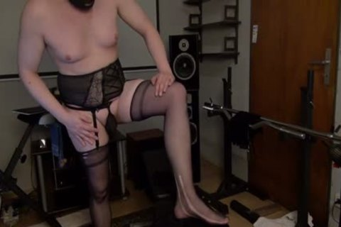 Full shaved 1-three nasty In Suspenders And Open Bra lingerie