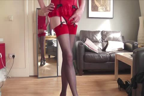 Red Corset, stockings, Heels, Plugged And Playing