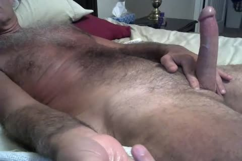 bushy Daddy Jerking On The bed