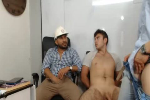 three older dudes With large cocks Caressing Each Other And Having Live Sex
