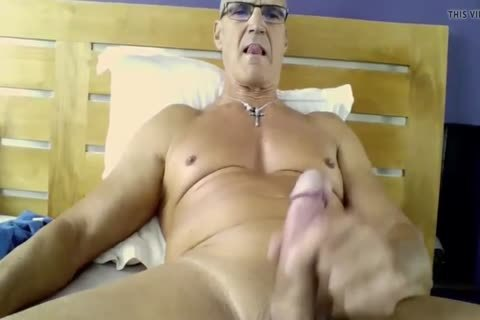 Smooth Uncut dad Cums On His Belly