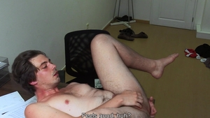 DirtyScout: Athletic gay impressed by huge dick guy