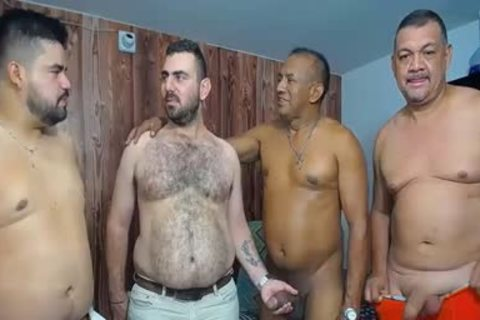 A gang Of daddy men stroking And Showing Off Their cocks