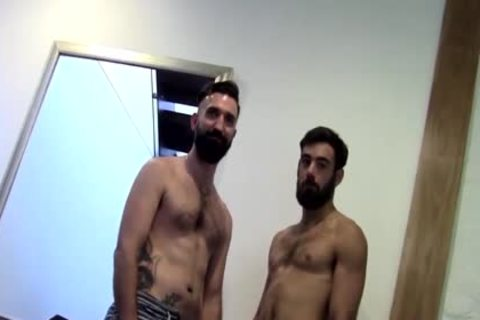 Tattooed Bearded non-professional butthole screwed By paramour After butthole slamming